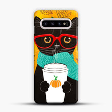 Load image into Gallery viewer, Pumpkin Coffee Cat Samsung Galaxy S10 Plus Case, Snap Case | Webluence.com