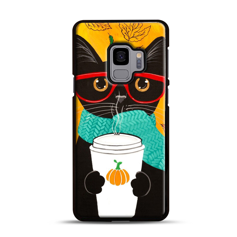 Pumpkin Coffee Cat Samsung Galaxy S9 Case, Black Plastic Case | Webluence.com