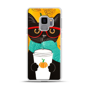 Pumpkin Coffee Cat Samsung Galaxy S9 Case, White Plastic Case | Webluence.com