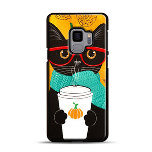 Pumpkin Coffee Cat Samsung Galaxy S9 Case, Black Rubber Case | Webluence.com