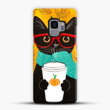 Load image into Gallery viewer, Pumpkin Coffee Cat Samsung Galaxy S9 Case, Snap Case | Webluence.com
