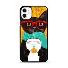 Load image into Gallery viewer, Pumpkin Coffee Cat iPhone 11 Case.jpg, Black Plastic Case | Webluence.com
