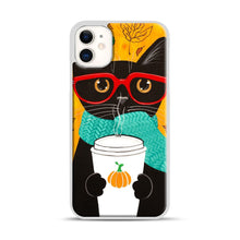 Load image into Gallery viewer, Pumpkin Coffee Cat iPhone 11 Case.jpg, White Plastic Case | Webluence.com