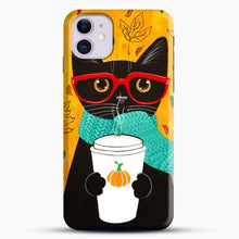 Load image into Gallery viewer, Pumpkin Coffee Cat iPhone 11 Case.jpg, Snap Case | Webluence.com