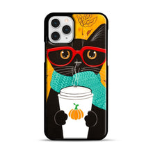 Load image into Gallery viewer, Pumpkin Coffee Cat iPhone 11 Pro Case, Black Plastic Case | Webluence.com