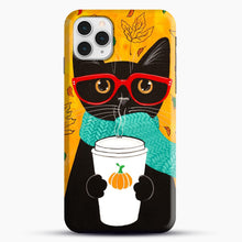 Load image into Gallery viewer, Pumpkin Coffee Cat iPhone 11 Pro Case, Snap Case | Webluence.com
