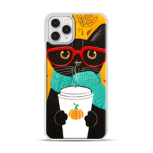 Load image into Gallery viewer, Pumpkin Coffee Cat iPhone 11 Pro Case, White Plastic Case | Webluence.com