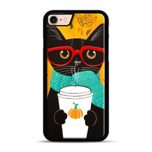 Load image into Gallery viewer, Pumpkin Coffee Cat iPhone 7/8 Case.jpg, Black Plastic Case | Webluence.com