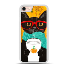 Load image into Gallery viewer, Pumpkin Coffee Cat iPhone 7/8 Case.jpg, White Plastic Case | Webluence.com