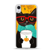 Load image into Gallery viewer, Pumpkin Coffee Cat iPhone XR Case, White Rubber Case | Webluence.com