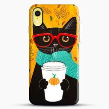 Load image into Gallery viewer, Pumpkin Coffee Cat iPhone XR Case, Snap Case | Webluence.com
