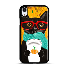 Load image into Gallery viewer, Pumpkin Coffee Cat iPhone XR Case, Black Rubber Case | Webluence.com
