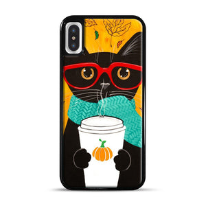 Pumpkin Coffee Cat iPhone X/XS Case, Black Rubber Case | Webluence.com
