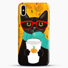 Load image into Gallery viewer, Pumpkin Coffee Cat iPhone X/XS Case, Snap Case | Webluence.com