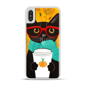 Pumpkin Coffee Cat iPhone X/XS Case, White Plastic Case | Webluence.com