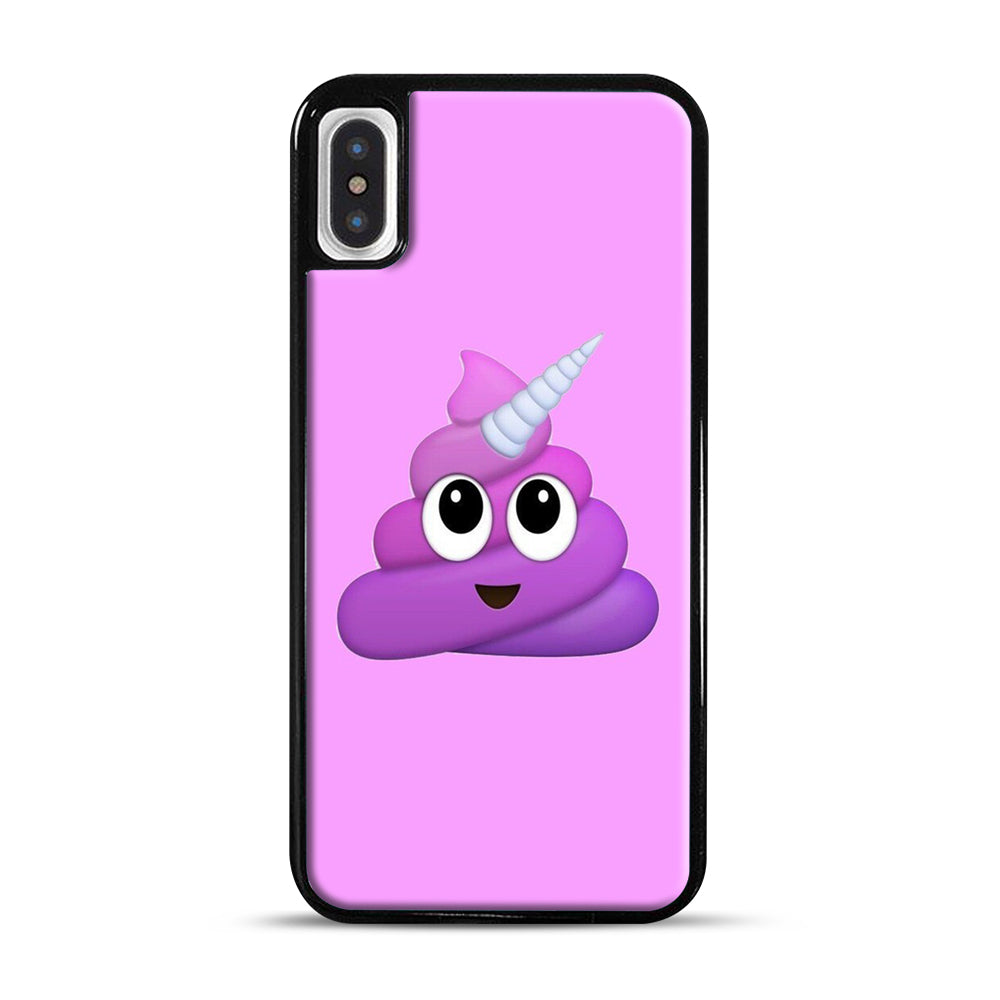 Purple Unicorn Poop Emoji iPhone X/XS Case, Black Plastic Case | Webluence.com