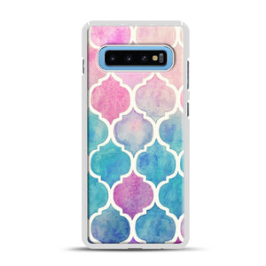 Rainbow Pastel Watercolor Samsung Galaxy S10 Plus Case, White Rubber Case | Webluence.com