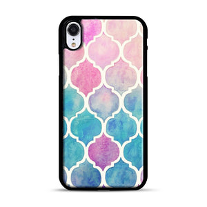 Rainbow Pastel Watercolor iPhone XR Case, Black Plastic Case | Webluence.com
