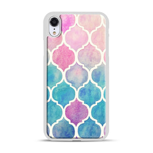 Rainbow Pastel Watercolor iPhone XR Case, White Plastic Case | Webluence.com