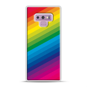 Rainbow Samsung Galaxy Note 9 Case, White Rubber Case | Webluence.com