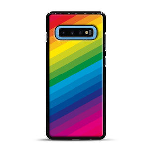 Rainbow Samsung Galaxy S10 Plus Case, Black Rubber Case | Webluence.com