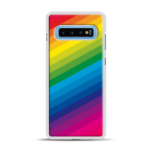 Rainbow Samsung Galaxy S10 Plus Case, White Rubber Case | Webluence.com