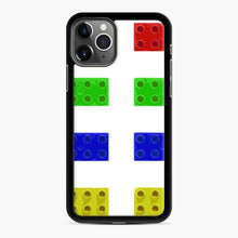 Load image into Gallery viewer, Red Green Yellow And Blue Lego iPhone 11 Pro Case, Black Rubber Case