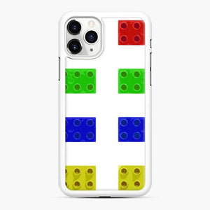 Red Green Yellow And Blue Lego iPhone 11 Pro Case, White Rubber Case