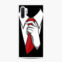 Load image into Gallery viewer, Red Tie Tuxedo Samsung Galaxy Note 10 Plus Case, White Rubber Case | Webluence.com