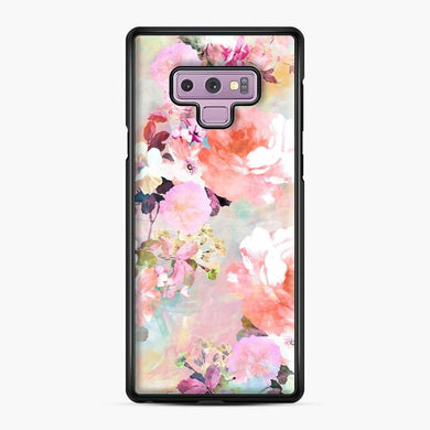 Romantic Pink Teal Watercolor Chic Floral Pattern Samsung Galaxy Note 9 Case, Black Plastic Case | Webluence.com