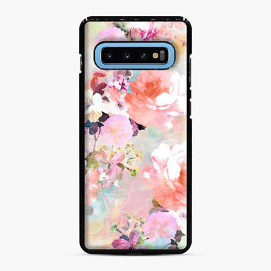 Romantic Pink Teal Watercolor Chic Floral Pattern Samsung Galaxy S10 Case, Black Plastic Case | Webluence.com