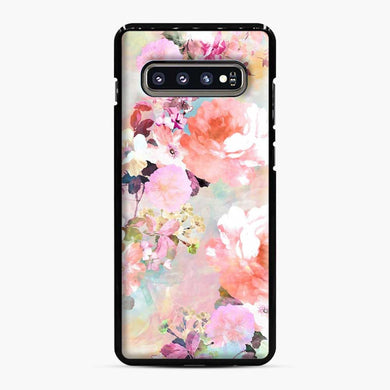 Romantic Pink Teal Watercolor Chic Floral Pattern Samsung Galaxy S10 Plus Case, Black Plastic Case | Webluence.com