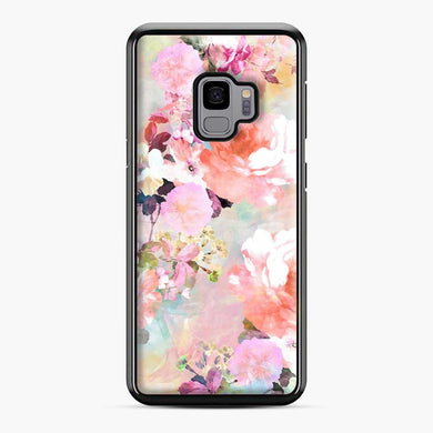 Romantic Pink Teal Watercolor Chic Floral Pattern Samsung Galaxy S9 Case, Black Plastic Case | Webluence.com