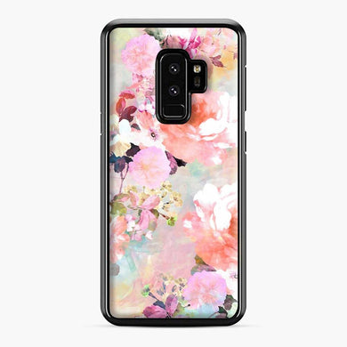 Romantic Pink Teal Watercolor Chic Floral Pattern Samsung Galaxy S9 Plus Case, Black Plastic Case | Webluence.com