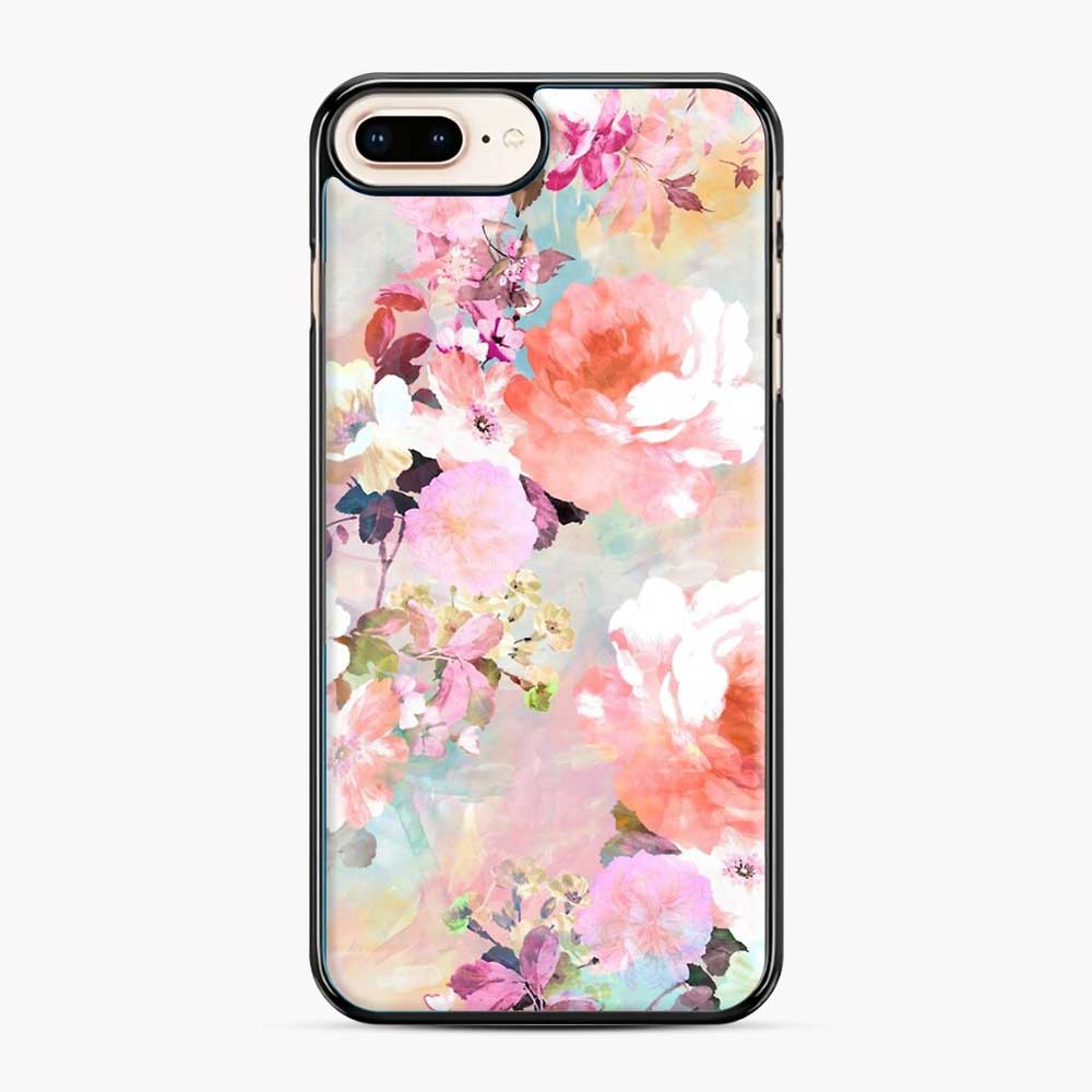 Romantic Pink Teal Watercolor Chic Floral Pattern iPhone 7 Plus/8 Plus Case, Black Plastic Case | Webluence.com