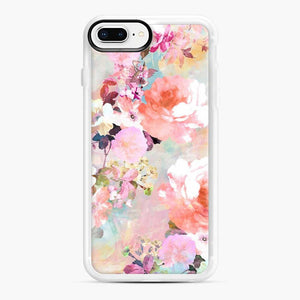 Romantic Pink Teal Watercolor Chic Floral Pattern iPhone 7 Plus/8 Plus Case, White Rubber Case | Webluence.com