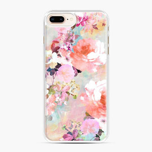 Romantic Pink Teal Watercolor Chic Floral Pattern iPhone 7 Plus/8 Plus Case, White Plastic Case | Webluence.com
