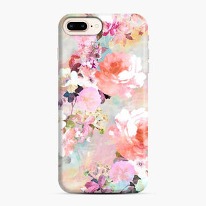 Romantic Pink Teal Watercolor Chic Floral Pattern iPhone 7 Plus/8 Plus Case, Snap Case | Webluence.com