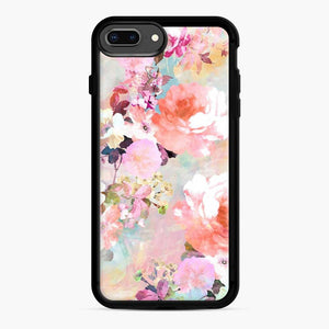 Romantic Pink Teal Watercolor Chic Floral Pattern iPhone 7 Plus/8 Plus Case, Black Rubber Case | Webluence.com