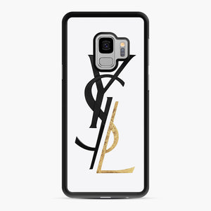 Saint Laurent Deconstructed Logo Gold Samsung Galaxy S9 Case, Black Rubber Case | Webluence.com
