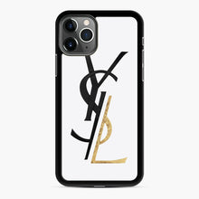 Load image into Gallery viewer, Saint Laurent Deconstructed Logo Gold iPhone 11 Pro Max Case, Black Rubber Case | Webluence.com