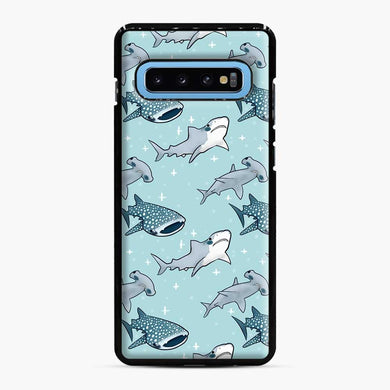 Shark Pattern Samsung Galaxy S10 Case, Black Plastic Case | Webluence.com