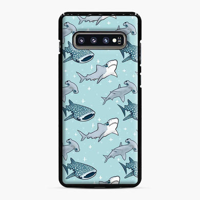 Shark Pattern Samsung Galaxy S10 Plus Case, Black Plastic Case | Webluence.com