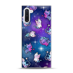 Space Kitties 1 Samsung Galaxy Note 10 Case, White Rubber Case | Webluence.com
