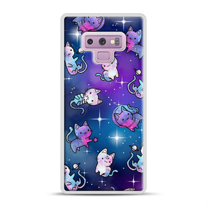 Space Kitties 1 Samsung Galaxy Note 9 Case, White Rubber Case | Webluence.com