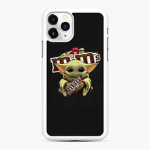 Load image into Gallery viewer, Star Wars Baby Yoda Hug M&M's Mandalorian iPhone 11 Pro Max Case, White Rubber Case | Webluence.com