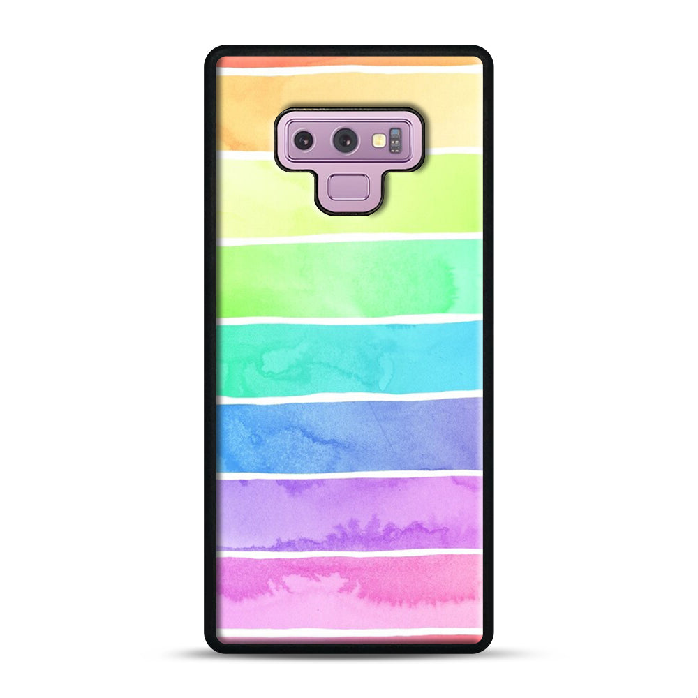 Summer Sorbet Rainbow Stripes Samsung Galaxy Note 9 Case, Black Plastic Case | Webluence.com