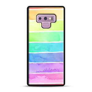 Summer Sorbet Rainbow Stripes Samsung Galaxy Note 9 Case, Black Rubber Case | Webluence.com
