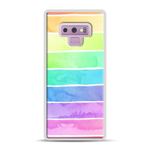 Summer Sorbet Rainbow Stripes Samsung Galaxy Note 9 Case, White Rubber Case | Webluence.com