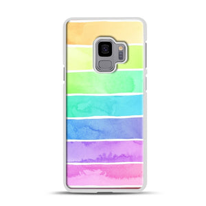 Summer Sorbet Rainbow Stripes Samsung Galaxy S9 Case, White Rubber Case | Webluence.com
